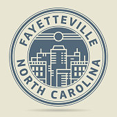 Stamp or label with text Fayetteville, North Carolina