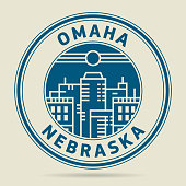 Stamp or label with text Omaha, Nebraska