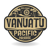 Stamp or label with the name of Vanuatu, Pacific Paradise
