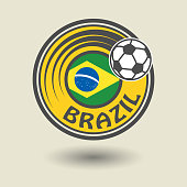 Stamp or label with word Brazil, football theme