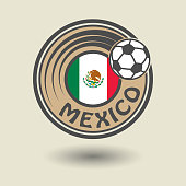 Stamp or label with word Mexico, football theme