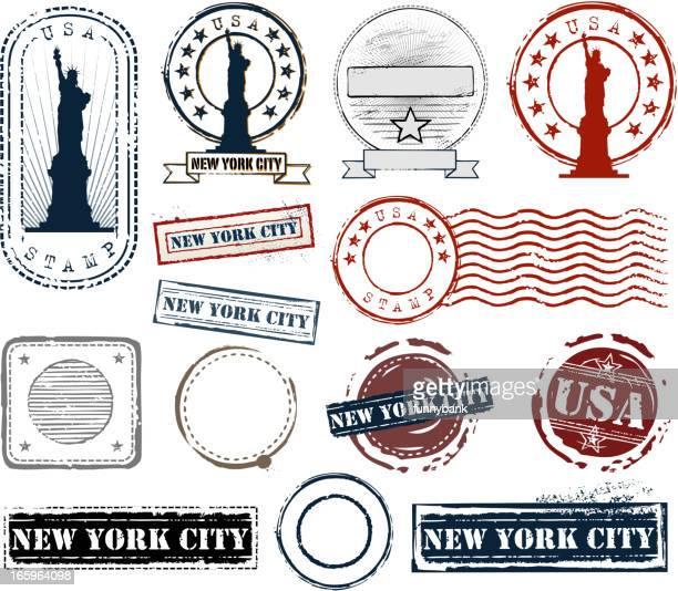 stamp set - postmark stock illustrations