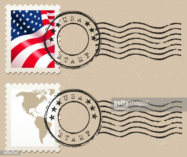 stamp - usa stock illustrations