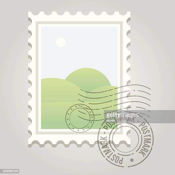 stamp with postmark and landscape - post office stock illustrations, clip art, cartoons, & icons
