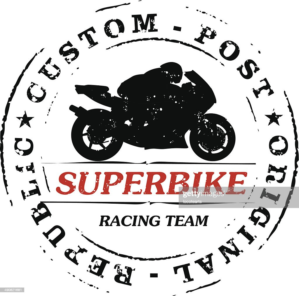 stamp with superbike and rider