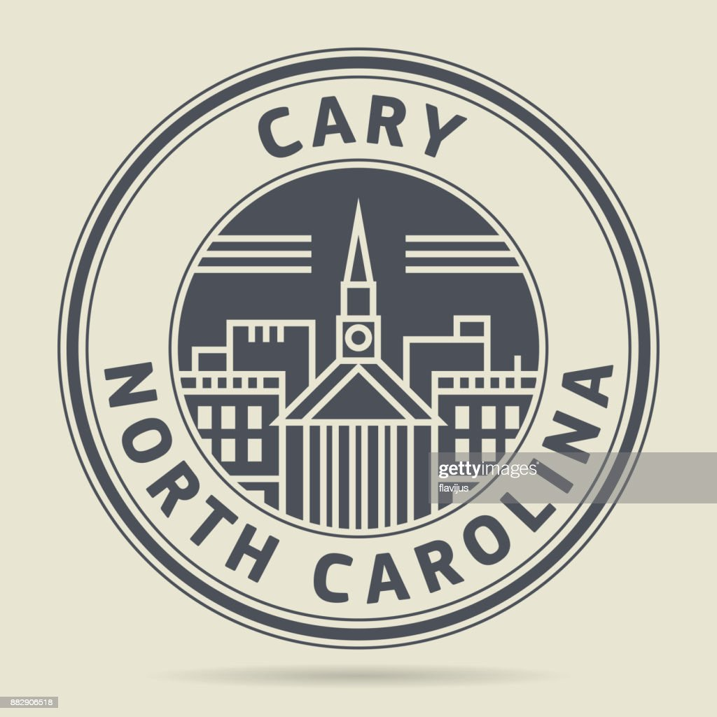 Stamp with text Cary, North Carolina