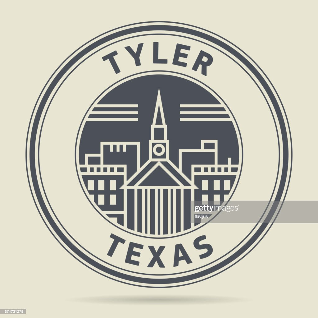 Stamp with text Tyler, Texas