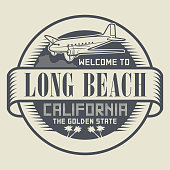 Stamp with text Welcome to Long Beach, California