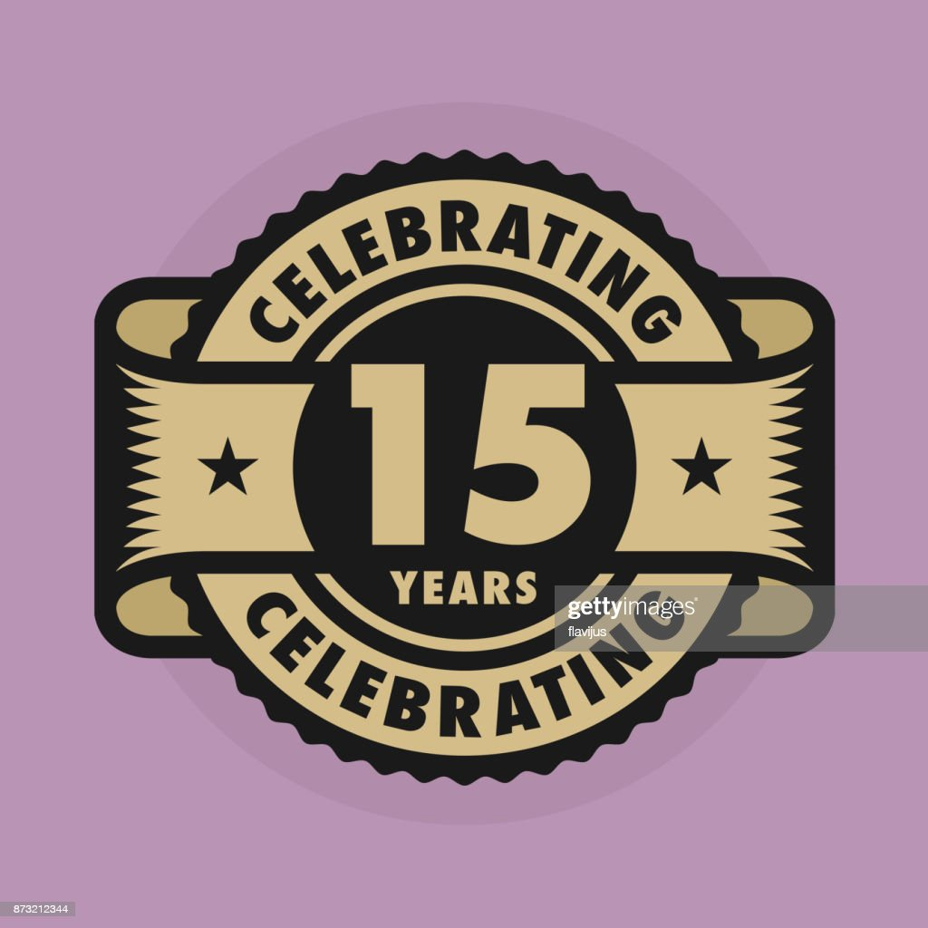 Stamp With The Text Celebrating 15 Years Anniversary Vector Art