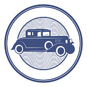 Stamp with vintage car inside