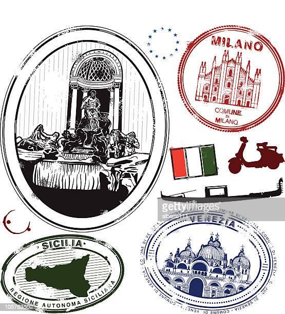 ilustraciones, imágenes clip art, dibujos animados e iconos de stock de stampa su passporta. - fontana de trevi