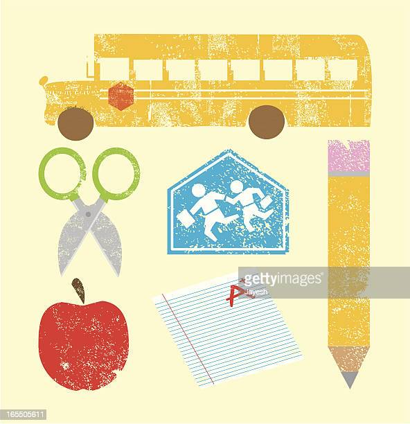 stamped school icons - report card stock illustrations
