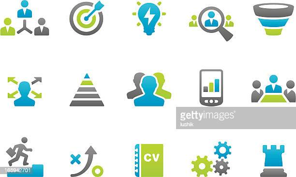 stampico - business strategy related icons - funnel stock illustrations
