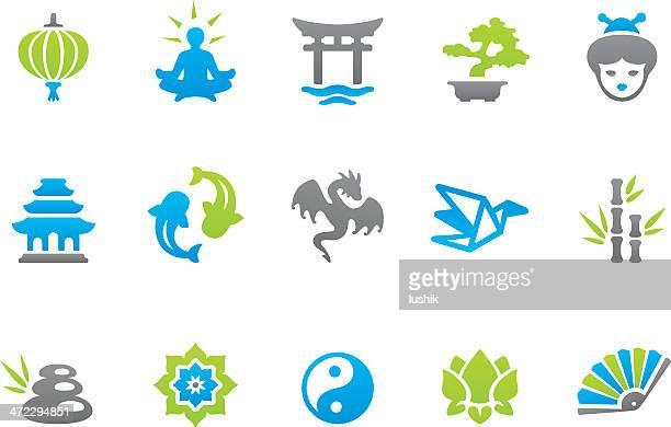 stampico icons - asia - pagoda stock illustrations, clip art, cartoons, & icons