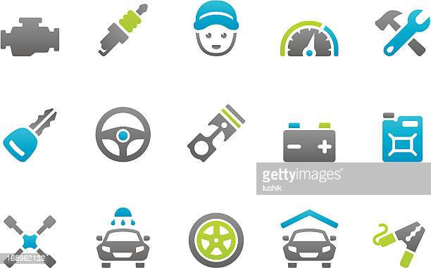 stampico icons - auto services - car battery stock illustrations, clip art, cartoons, & icons