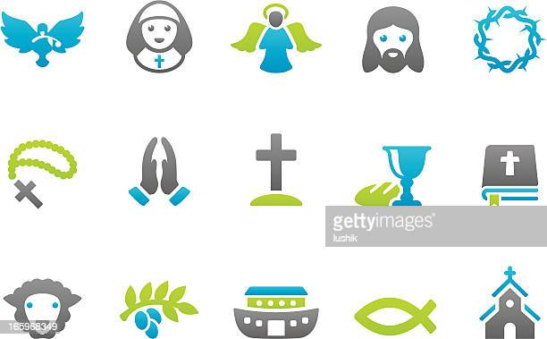 stampico icons - christianity - chapel stock illustrations, clip art, cartoons, & icons