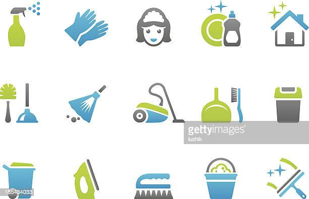 stampico icons - cleaning - washing up glove stock illustrations, clip art, cartoons, & icons