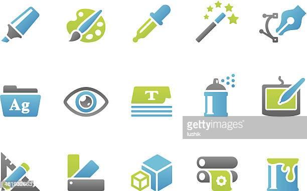 stampico icons - design - printing press stock illustrations