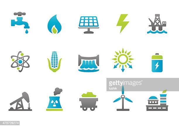 illustrations, cliparts, dessins animés et icônes de stampico icônes-production d'énergie - fuel pump