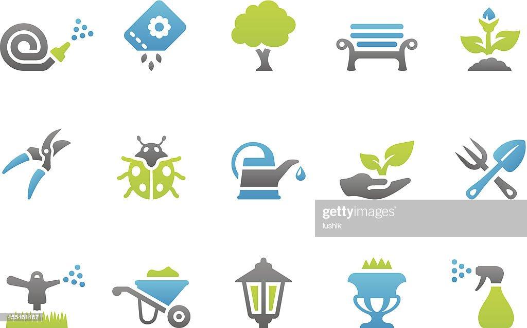 Stampico ícones de jardinagem : Ilustração
