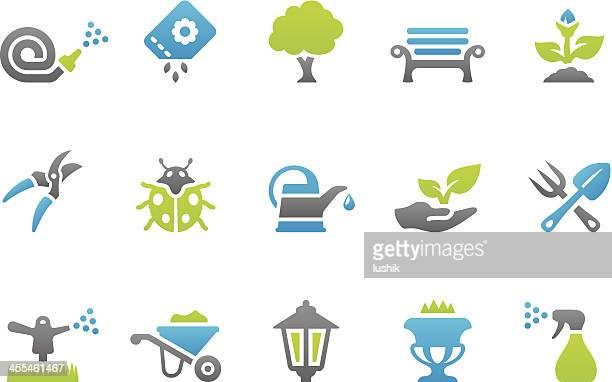 stampico icons - gardening - watering can stock illustrations
