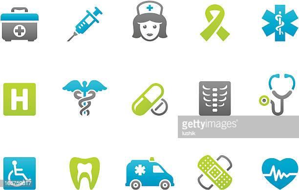 ilustraciones, imágenes clip art, dibujos animados e iconos de stock de stampico iconos-asistencia sanitaria y medicina - enfermera