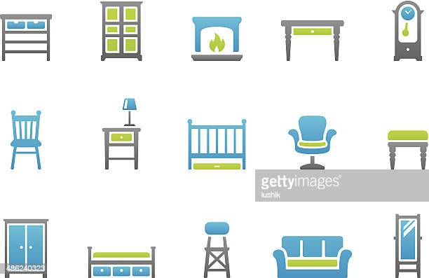 stampico icons - home interior - display cabinet stock illustrations, clip art, cartoons, & icons