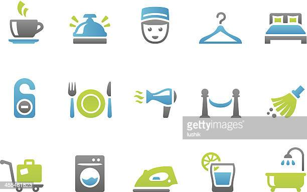 stampico icons - hotel service - social grace stock illustrations, clip art, cartoons, & icons