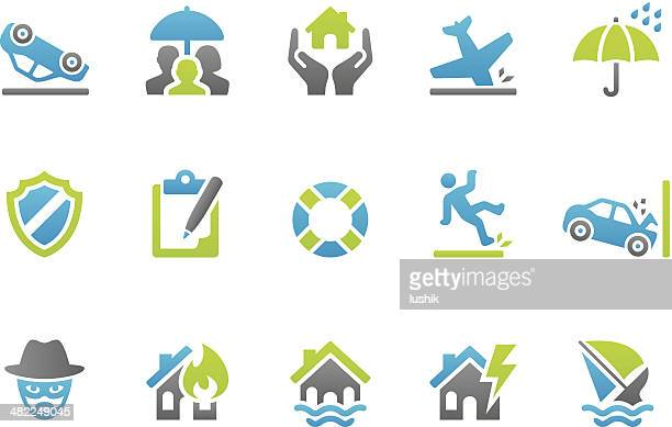 stampico icons - insurance - misfortune stock illustrations, clip art, cartoons, & icons