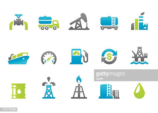 stampico icons - oil industry - oil pump stock illustrations, clip art, cartoons, & icons