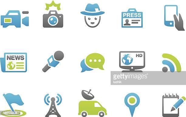 stampico icons - press - journalism stock illustrations