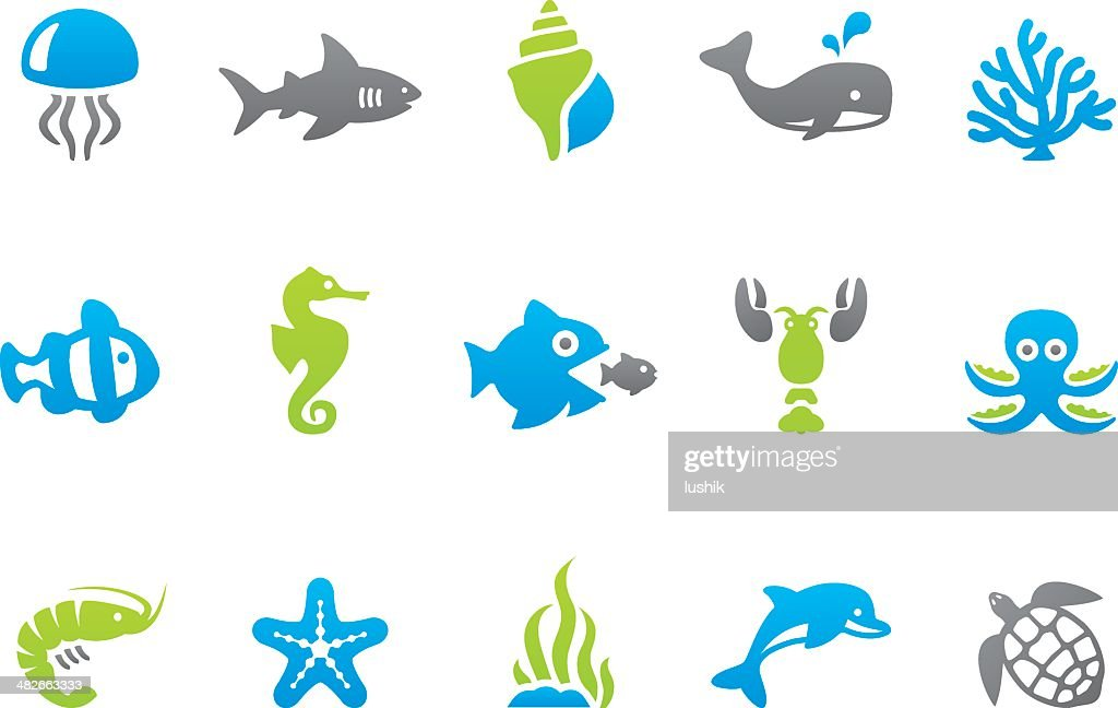 Stampico icons - Sea Life : stock illustration
