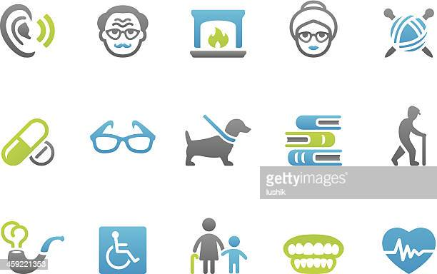 stampico icons - senior adult - hearing aid stock illustrations, clip art, cartoons, & icons