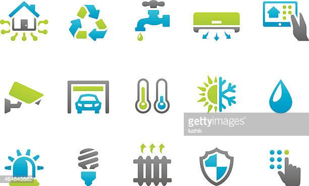 stampico icons - smart house - energy efficient stock illustrations, clip art, cartoons, & icons