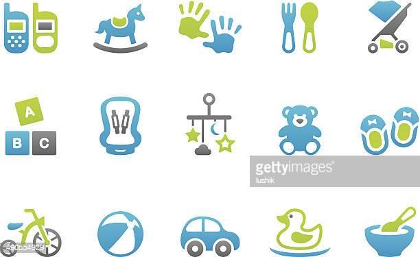 illustrations, cliparts, dessins animés et icônes de stampico icônes-jouet - jouet