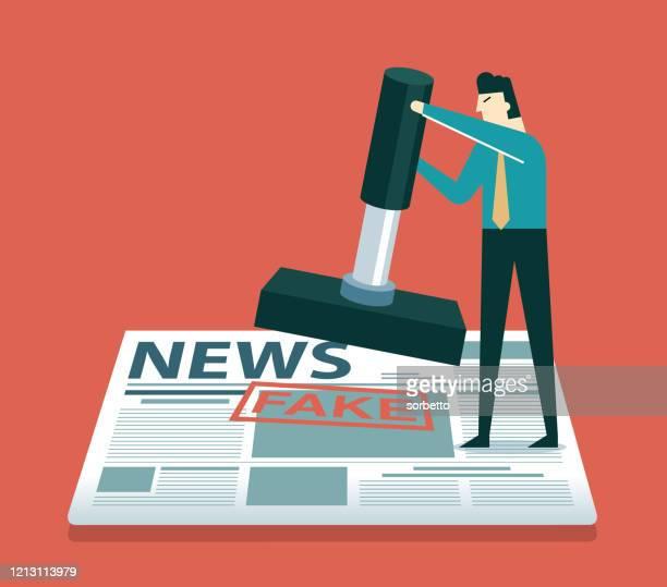 ilustrações, clipart, desenhos animados e ícones de carimbo selo falso - empresário - fake news