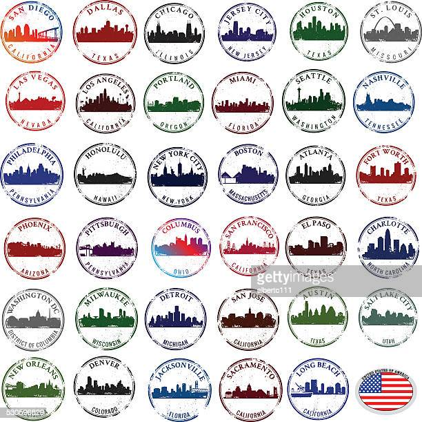stamps of american cities - atlanta stock illustrations, clip art, cartoons, & icons