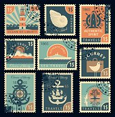 stamps on the theme of travel by sea