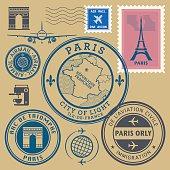 Stamps set, Paris theme