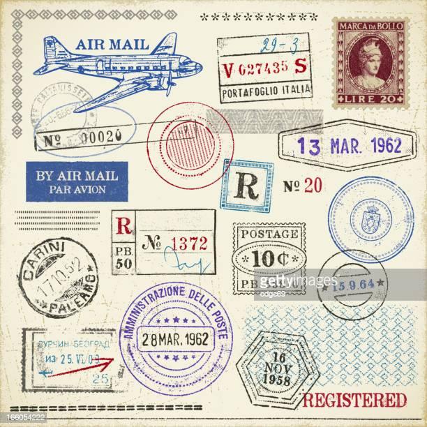 stamps - postmark stock illustrations