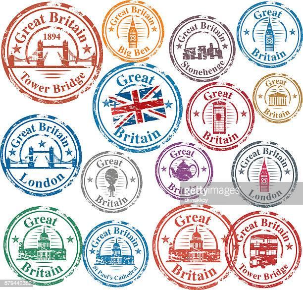 uk stamps - british culture stock illustrations