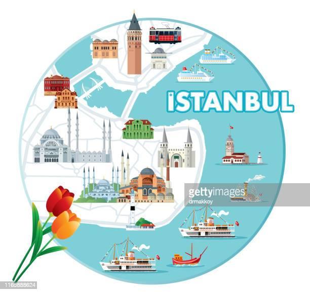 ilustraciones, imágenes clip art, dibujos animados e iconos de stock de mapa de estambul - lugar famoso internacional