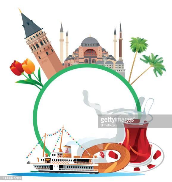 stockillustraties, clipart, cartoons en iconen met istanbul reizen - minaret