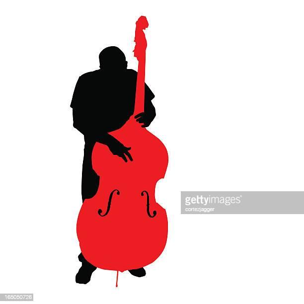 Debout au bassiste Silhouette (vecteur/300 ppp jpg
