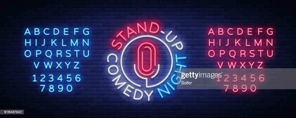 Stand Up Comedy Show is a neon sign. Neon , bright luminous banner, neon poster, bright night-time advertisement. Stand up show. Invitation to the Comedy Show. Vector. Editing text neon sign