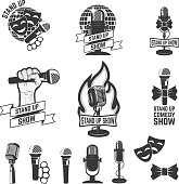 Stand up comedy show labels. Set of old style microphones.