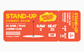 Stand up comedy show ticket isolated on white background. Ticket template for comedy show, performance