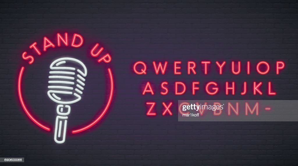 Stand Up neon sign, bright signboard, light banner. Stand Up symbol, emblem. Neon sign creator. Neon text edit.