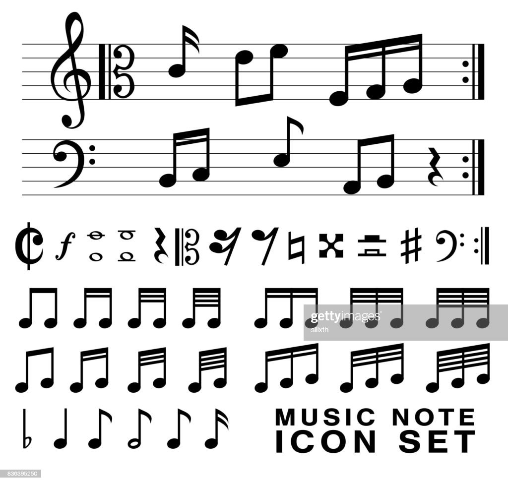 standard music notes symbol set vector eps10