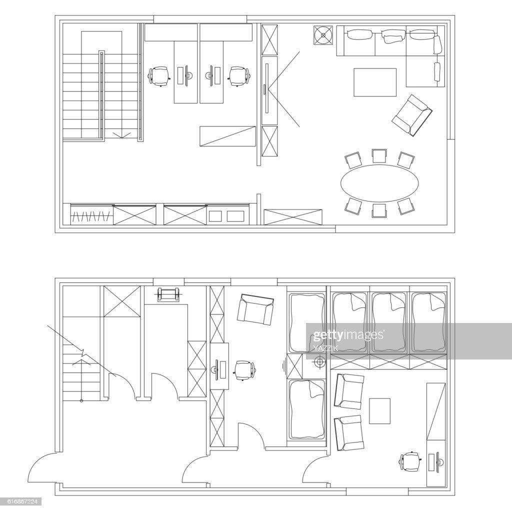 Standard office furniture symbols set : Vector Art